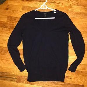 J. Crew 100% cotton navy v-neck sweater